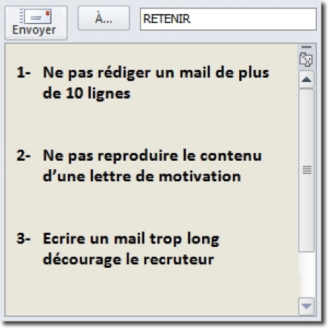 La longueur d'un mail de motivation